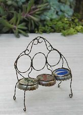 Miniature Dollhouse FAIRY GARDEN Furniture ~ Antiqued Bottle Cap Bench