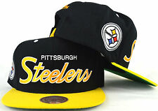 Pittsburgh Steelers Snapback Hat Mitchell & Ness NFL Script Cap