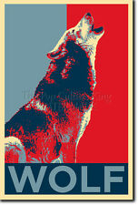 WOLF (ANIMAL) ART PHOTO PRINT (OBAMA HOPE PARODY) POSTER GIFT LOVER COURAGE