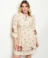 Angela Plus Size Boho Festival Hippi Dress Cream Floral Lace Up Front Size 2XL