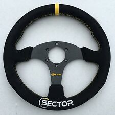 Sector Racing 320mm Flat Sport Drift Suede Alloy Steering Wheel YELLOW 330