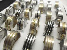 wholesale 50pcs Golden silver black line Stainless steel Rings Jewelry lots