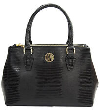 NWT DKNY Donna Karan Bryant Park Black Lizard Leather Small Double Zip Satchel
