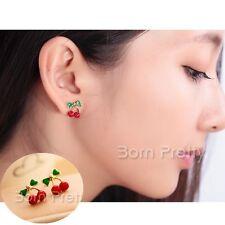1 Paar Rot Kirsche Ohrstecker Ohrringe Ohrschmuck Ear Studs Cherry Earring