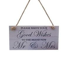 Hanging Decoration Wedding Engagement Wood Sign Good Wishes Marriage Plaque