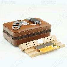 COHIBA Real Leather Brown Zipper Travel Cigar Case Humidor With Lighter Cutter