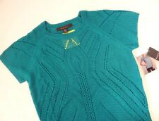 NEW Fever Women's Cap Sleeves Crochet Knit Top Sweater Sheer Deep Sea M