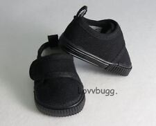 "All Black Sneakers for 18"" American Girl or Boy Doll Shoes Widest Selection!"
