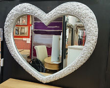"Large Heart Wall Mirror Ornate French Engrved Roses 110X90cm 43""x35"" Silver"