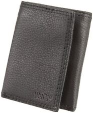 BRAND NEW LEVI'S LEATHER ZIPPER COIN TRIFOLD CREDIT CARD WALLET BLACK 31LV1147