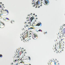 12 Diamante DRAGONFLY 25mm AB CLEAR Stick On Gems Self Adhesive Rhinestone