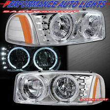 GMC 00-06 YUKON 99-06 SIERRA DUAL HALO CHROME HEADLIGHTS w/ LED PARKING LIGHTS