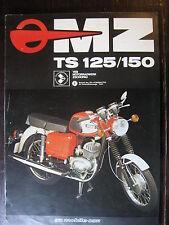 BROCHURE CATALOGUE  MOTO 1978  MZ TS 125 / 150