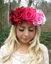 Large Red Pink Cream Rose Flower Garland Headband Hair Crown Festival Big 2209