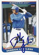 Derrick Loveless 2013 Bluefield Blue Jays Signed Card