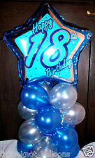 """AGE 18 18TH BIRTHDAY 18"""" FOIL BALLOON TABLE DISPLAY DECORATION AIR FILL star bs"""