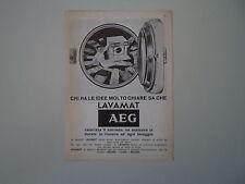 advertising Pubblicità 1967 LAVATRICE AEG LAVAMAT