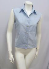 CHANEL IDENTIFICATION BLOUSE TOP BLUE & WHITE 100% COTTON STRIPES 00C 38 SMALL S