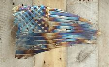 Tattered American Flag Battle Torn Metal Wall Art Hanging Home Decor Rustic