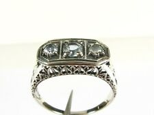 .50ctw Natural Round Cut Aquamarine Victorian Deco Sterling Filigree Ring s6.75