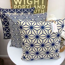 CUSHION COVER GEOMETRIC INK BLUE NAVY BEIGE TAUPE CHRISTMAS RETO LINEAR INDIGO j