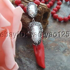 H071707 25'' Red Coral Necklace White Biwa Pearl Coral Pendant