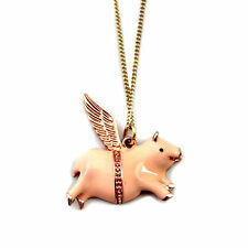 KiTsCh~FLYING LUCKY PIG NECKLACE~When Pigs Fly~Mini Pink Piggie~Miss Piggy~Wings