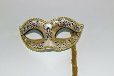 GLITTERING BLUE GOLD JEWELLED VENETIAN MASQUERADE PARTY BALL MASK ON A STICK