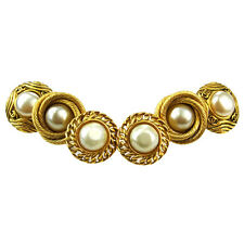 Auth CHANEL CC 3 Pile Button Earrings Imitation Pearl Gold-tone Clip-On 04S594