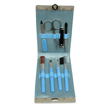 Manicure Set 8 Pieces In Blue Wallet Serenity Kit Cosmetic Make- Up Bag