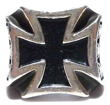 MENS ESTATE LARGE BLACK ENAMEL MALTESE CROSS STERLING SILVER BIKER SHIELD RING