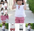 1-4Y Toddler Baby Kid Girl Ruffled T-shirt Tops + Plaid Pants 2pcs Outfits Suits