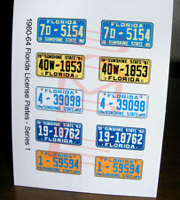 1960 - 1964 FLORIDA miniature LICENSE PLATES for 1/25 scale MODEL CARS