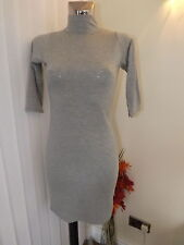 BOOHOO GREY T SHIRT TYPE POLO NECK BODYCON DRESS SIZE 12 LADIES BNWT 3/4 SLEEVE