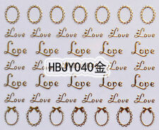 Gold Loves Picture Frames 3D Nail Art Sticker Decals UV Gel Tips Decoration