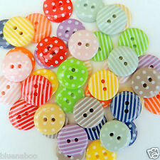 20 mixed colour stripey & spotty buttons size 15mm
