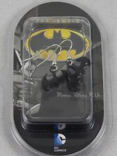 New DC Comics Batman Black Logo Fishhook Insertion Drop Dangle Earrings Sealed
