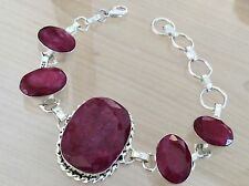 Ruby Gemstones 925 Silver Fill Gorgeous Ladies Bracelet Complete With Gift Bag