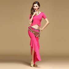 Yoga Practice Clothing Costumes Belly Dance Siamese Blouse with Pants 3 pcs Sets