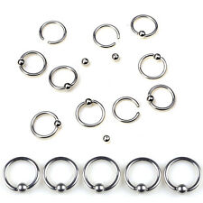 10PCS Lots of Eyebrow Lip Nose Ring Hoop Stainless Steel Body Piercing Jewelry