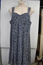 Connected Woman Plus Size Sun Dress Blue White Floral Ruffle Straps Size 24W