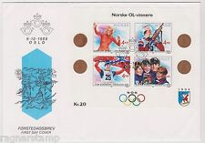 1989 NORWAY FDC Lillehammer Winter Olympics, MS  NK 1076-79