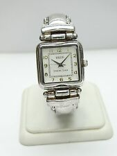 ECCLISSI STERLING SILVER & BLACK LEATHER LADIES WATCH 22695 SQUARE FACE htf!!!!!