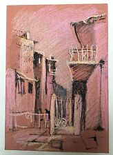 Painting From Tarnovo: European Dry Crayon Paper Painting City Landscape Retro