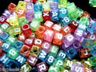 50x cube colourful single alphabet/letter A-Z beads 6mm
