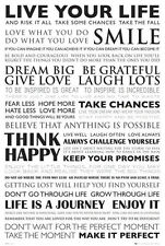 Live Your Life POSTER 91x61cm Inspirational Positive Quotes Affirmations NEW