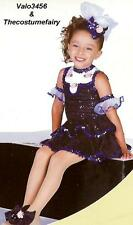 Broadway Baby Dance Costume Leotard & Sequin Velvet Peplum Tap Skirt Child Small