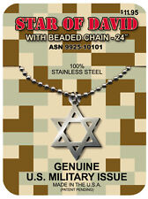 Official U S Military STAR of DAVID GI Jewelry Stainless Steel Necklace