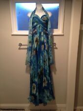 Tony Bowls Evenings Gown Evening Dress Prom Pageant Size 6 Blue Floral Beaded