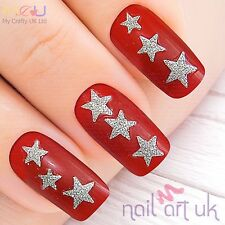 50 Glitter 3D Silver Star Adhesive Nail Art Stickers Decorations Decals